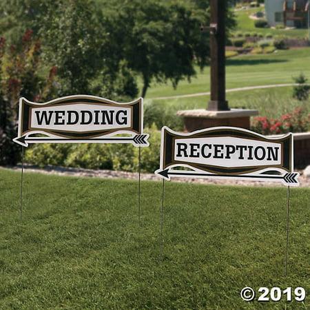 - Black & Gold Wedding Directional Yard Signs