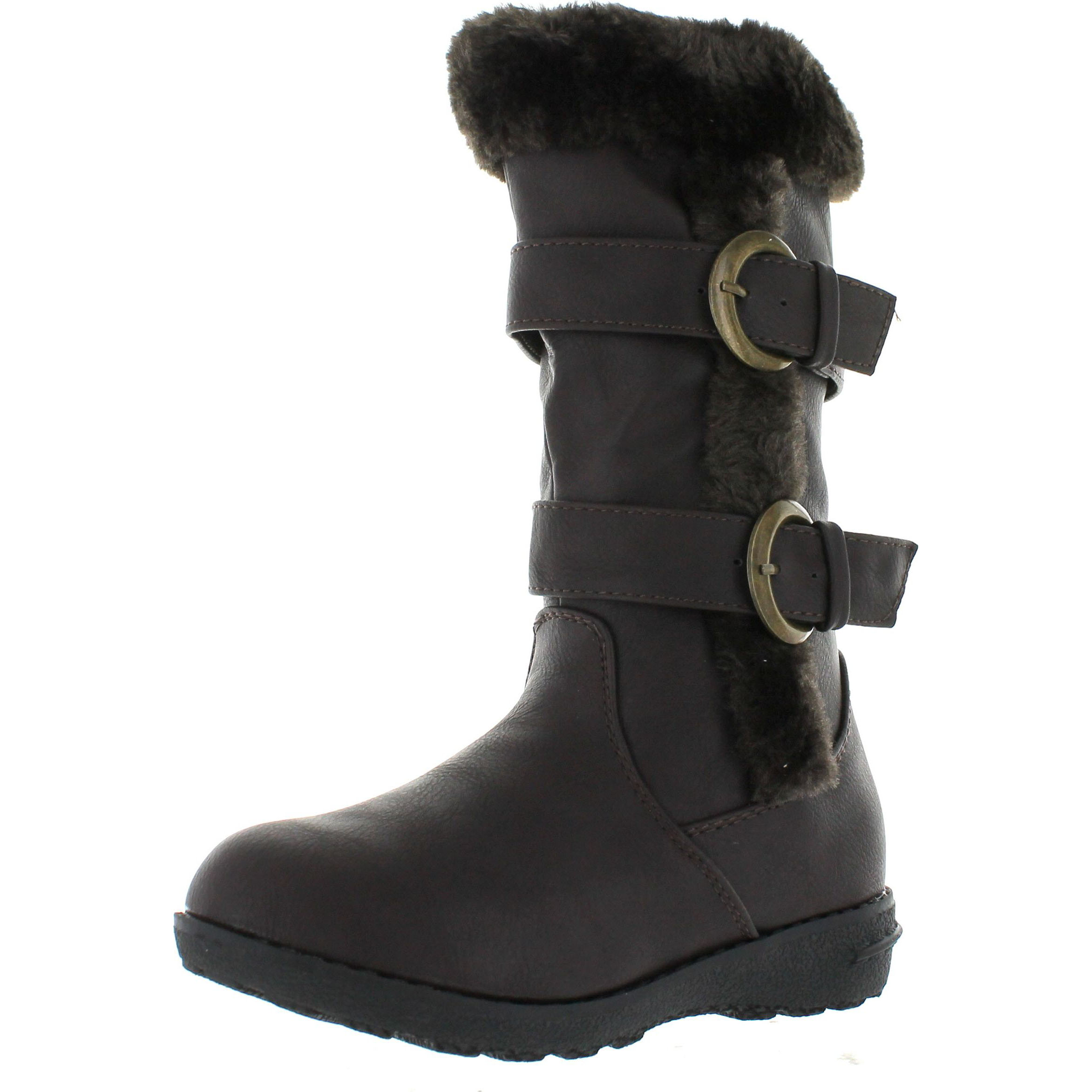 Lucky Top Youth-1K Children Girl's Low Heel Double Buckle Knee High Snow Boots by Static Footwear
