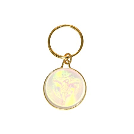 Gold-Tone Holographic Jesus On The Cross Religious Theme Key Chain KEKC4723 - Cross Key Chains