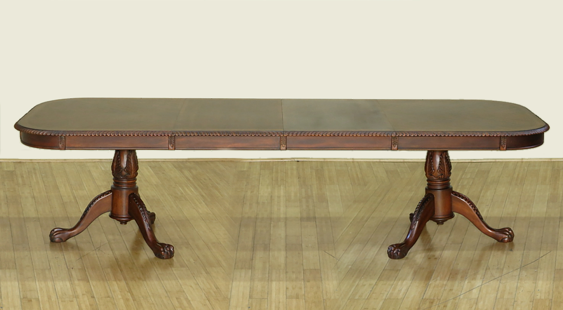10Ft Consigned Estate Mahogany Chippendale Matte Pedestal Dining Table w Leaves by MBW Furniture
