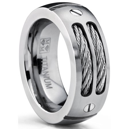 8MM Men's Titanium Ring Wedding Band with Stainless Steel Cables and Screw Design Sizes 7 to 13 Design Stainless Steel Band