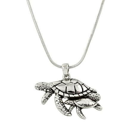 Turtle Pendant Necklace Rhinestone Crystal Rhodium High Polished J0126