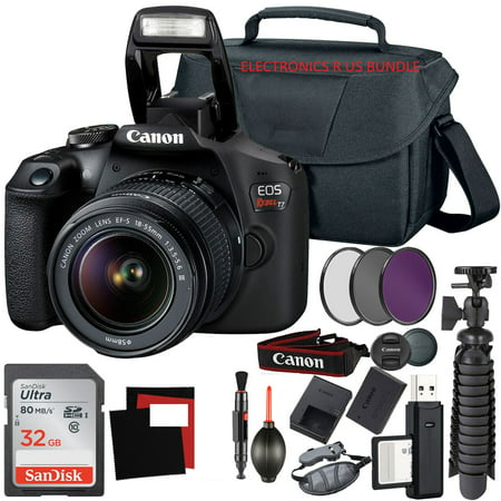 Canon Rebel T7 (EOS 2000D) DSLR Camera with EF-S 18-55 mm f/3.5-5.6 IS DC III Lens + 32GB Memory Card + Camera Bag + Cleaning Kit + Table Tripod + Filters