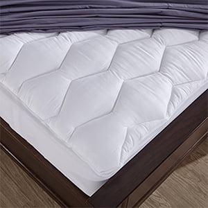 Puredown 500 Thread Count 100% Cotton Down Alternative Mattress Pad, Twin Size, White
