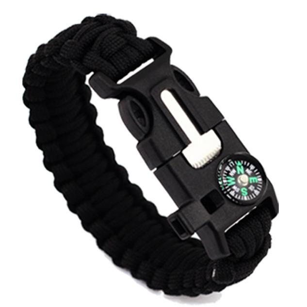 5in1 Outdoor rope Paracord Survival gear escape Bracelet Flint Whistle Compass A by