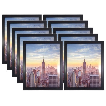 Frame Amo 11x14 Black Contemporary Wood Picture Photo Frame, Flat Border, 10-PACK