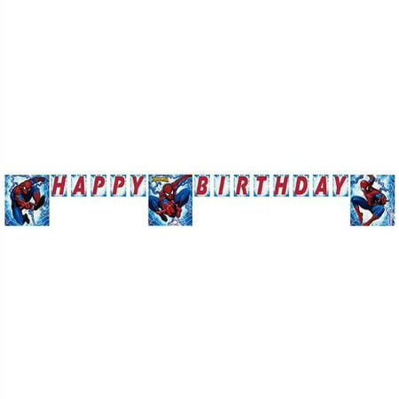 Spiderman Letter Banner 8ft, THE AMAZING SPIDERMAN Party HAPPY BIRTHDAY Banner 8.29 Feet Long By Factory Card and Party Outlet Ship from US