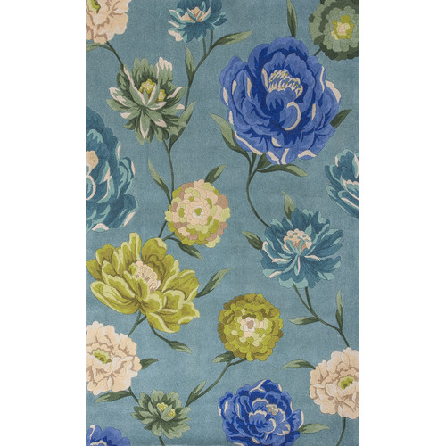 KAS Rugs Catalina Blue Floral Oasis Area Rug