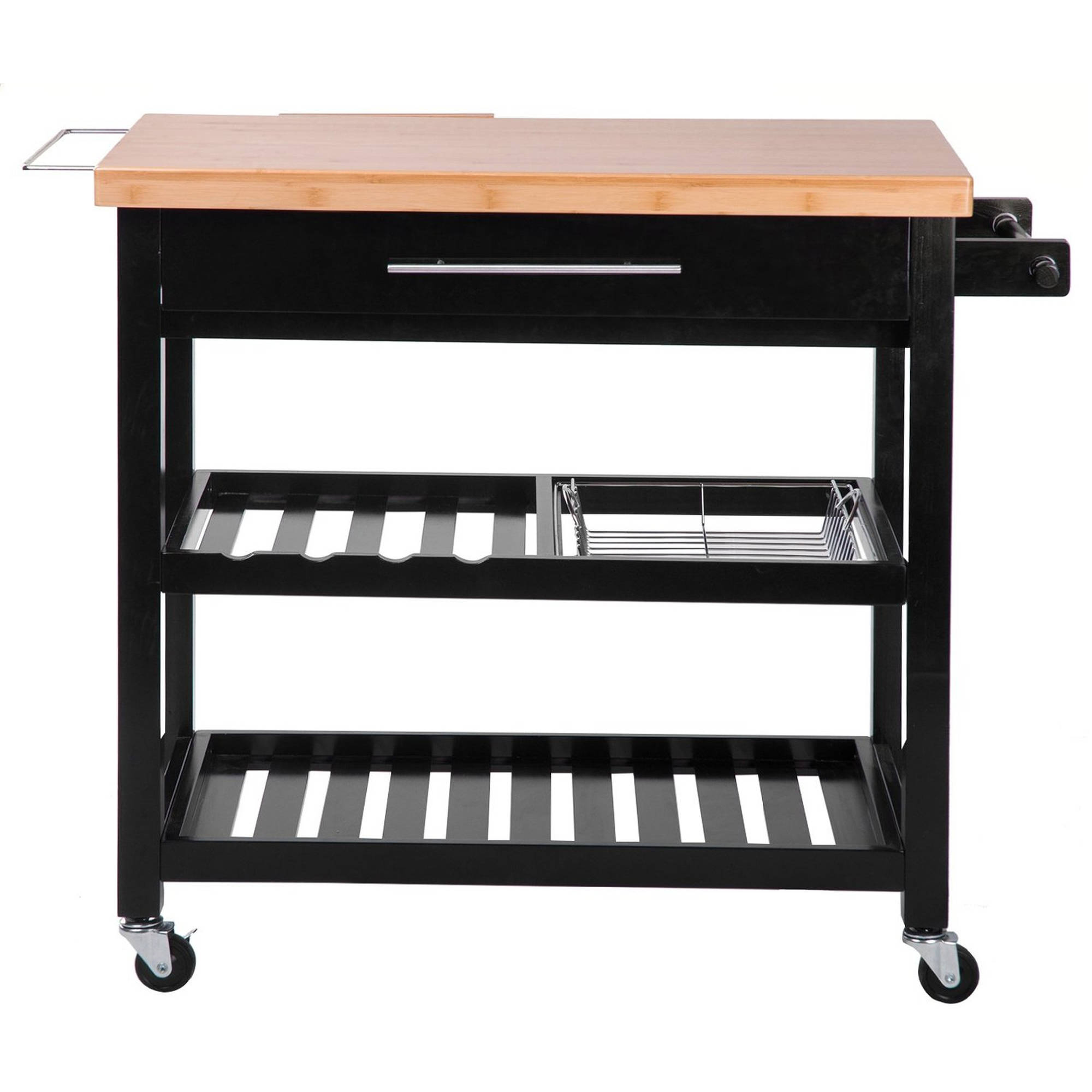 Merax Kitchen Furniture Natural Wood Kitchen Cart/Island with Drawers and Lockable Casters