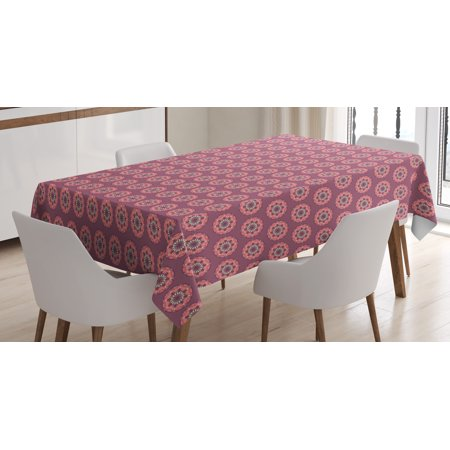 Peach Tablecloth, Mandala Design with Retro Colors Ethnic Inspirations Floral Arrangement, Rectangular Table Cover for Dining Room Kitchen, 60 X 90 Inches, Mauve Coral Pale Yellow, by Ambesonne ()