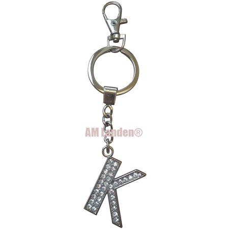Rhinestone Bling Crystal Alphabet Letter Key-chains Keychains Handbags Charms (Letter K)