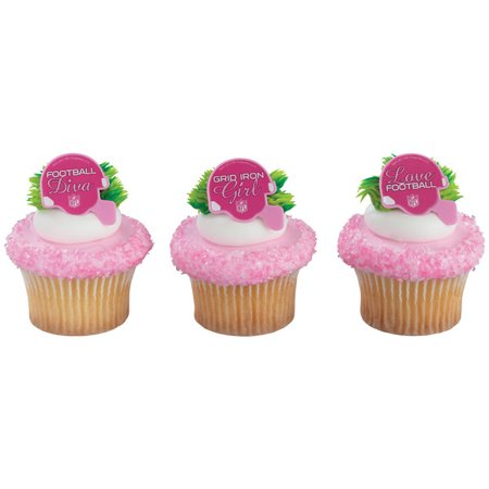 12 NFL Pink Helmet Cupcake Cake Rings Football Birthday Party Favors Toppers - Nfl Party