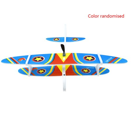 GeweYeeli Random Color DIY Biplane Glider Foam Powered Flying Plane Rechargeable Electric Aircraft Model Science Educational Toy Rubber Powered Flying Model