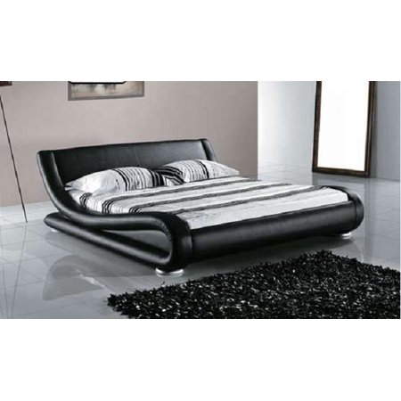 Greatime B1070 Contemporary Upholstered Platform Bed Queen Black
