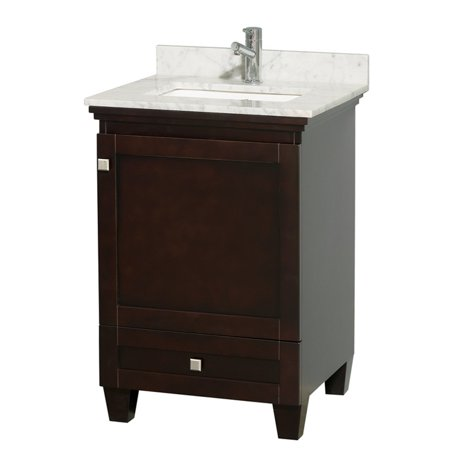 Wyndham Collection Acclaim 24 Inch Single Bathroom Vanity In Espresso White Carrera Marble Countertop
