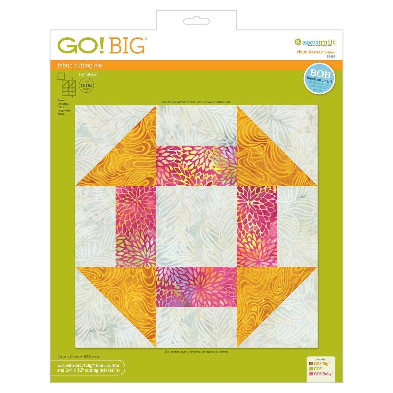 "Image of AccuQuilt Go! Die Big Churn Dash-12"" Finished 55459"