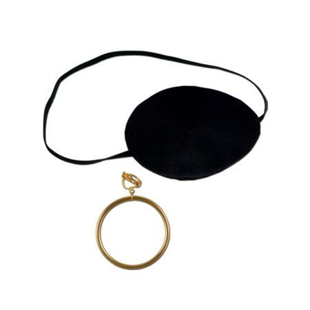 Club Pack of 12 Black Pirate Eye Patch with Earring Halloween Costume Accessory Sets 3