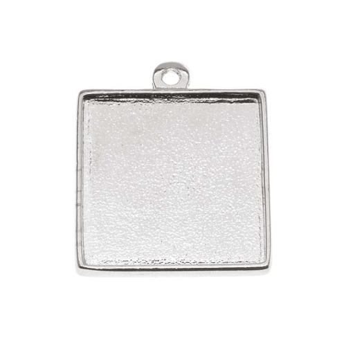 Nunn Design Bright Silver Plated Square 2-Sided Collage Bezel Pendant 15/16 Inch