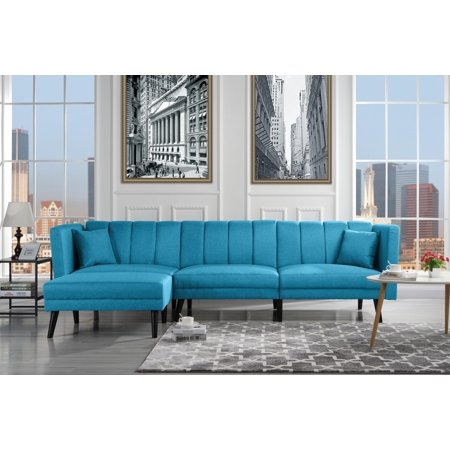 Mid-Century Style Sectional Couch Sleeper Futon, Reclining, Sky Blue ...