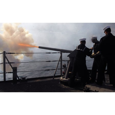 Canvas Print Another round bursts from the guided missile frigate USS Doyle's (FFG 39) saluting battery as Gunner Stretched Canvas 10 x 14 (Burst Round Wall)