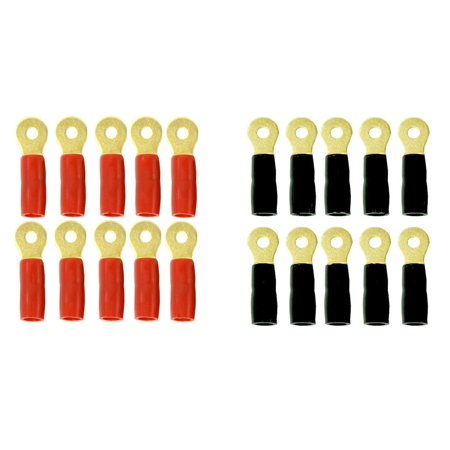 International Tongue Twisters (DNF 10 Pair Copper 24K Gold Plated 8 Gauge Ring Tongue Terminal Connectors Red Boots (10 Pack) Black Boots (10 Pack))