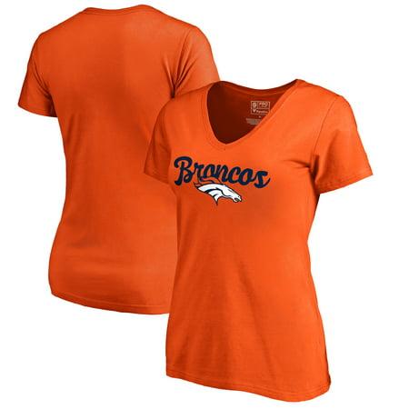 Nfl Denver Broncos Helmet (Denver Broncos NFL Pro Line by Fanatics Branded Women's Freehand Plus Size V-Neck T-Shirt - Orange)