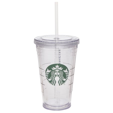 249d9b5c98b Starbucks 16 Ounce Clear Tumbler with Straw - Walmart.com