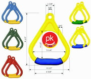 Playkids wooden Swing Set 2 (1 Pair) Trapeze hand grip or trapeze bar ring with Soft Handle Hardware Porch for Play Set Jungle Gym  Playground in Backyard