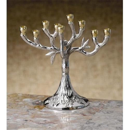 Biedermann & Sons Silver-Tone Tree Design Hanukkah Menorah, 5.5 Inches Tall