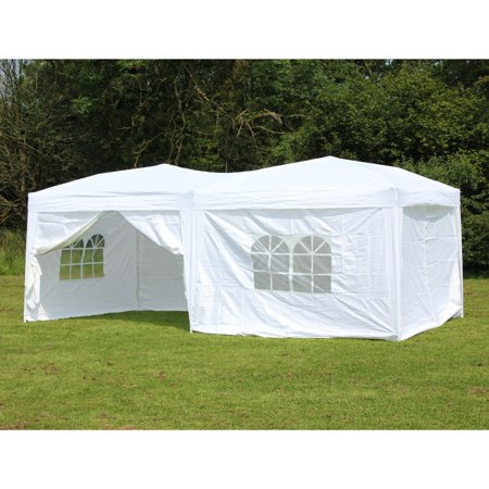 10 X 20 Palm Springs Pop Up WHITE Canopy Gazebo Party Tent With 6 Side Walls