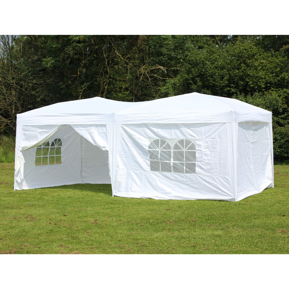 10 x 20 Palm Springs Pop Up WHITE Canopy Gazebo Party Tent with 6 Side Walls New