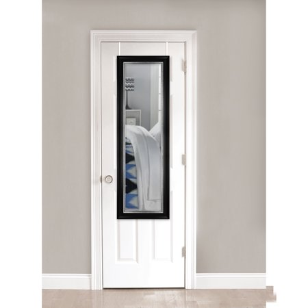 """Mainstays Over-the-Door Mirror, Black with Pewter, 17"""" x 53"""""""