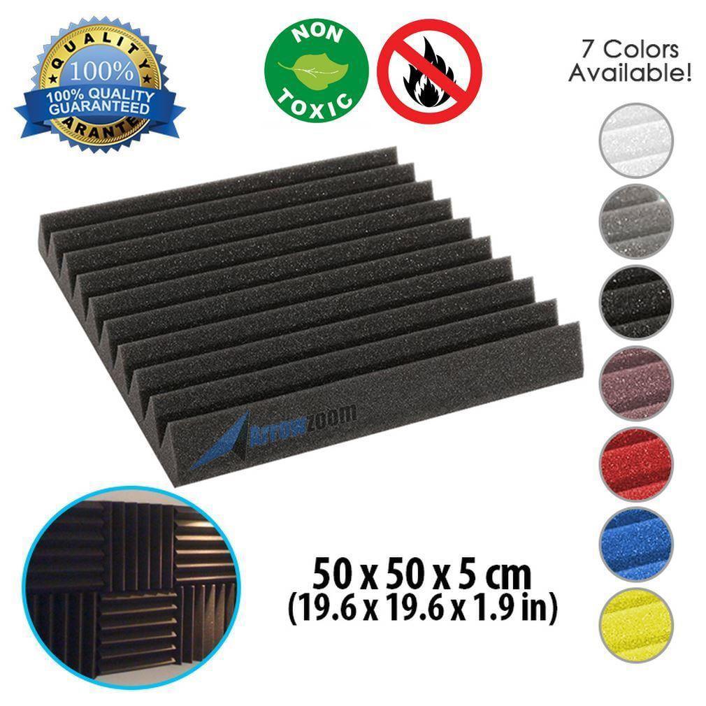 "Arrowzoom New Black 19.6"" x 19.6"" x 1.9"" Wedge Studio Soundproofing Acoustic Foam Tile Panel"