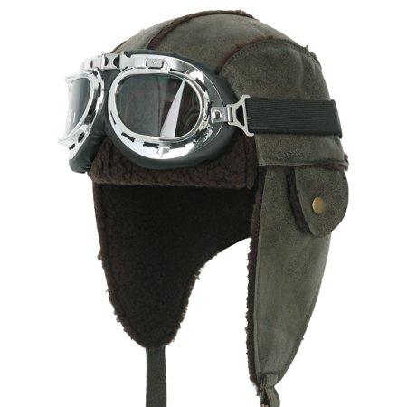 ililily - ililily Aviator Hat Winter Snowboard Fur Ear Flaps Trooper Trapper  Pilot Goggles  8250f3b56727