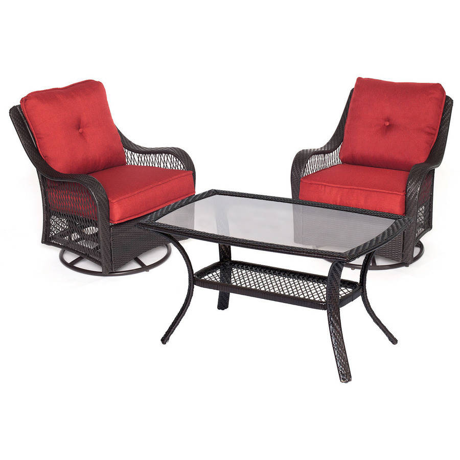 Hanover Orleans 3-Piece Woven Patio Chat Set