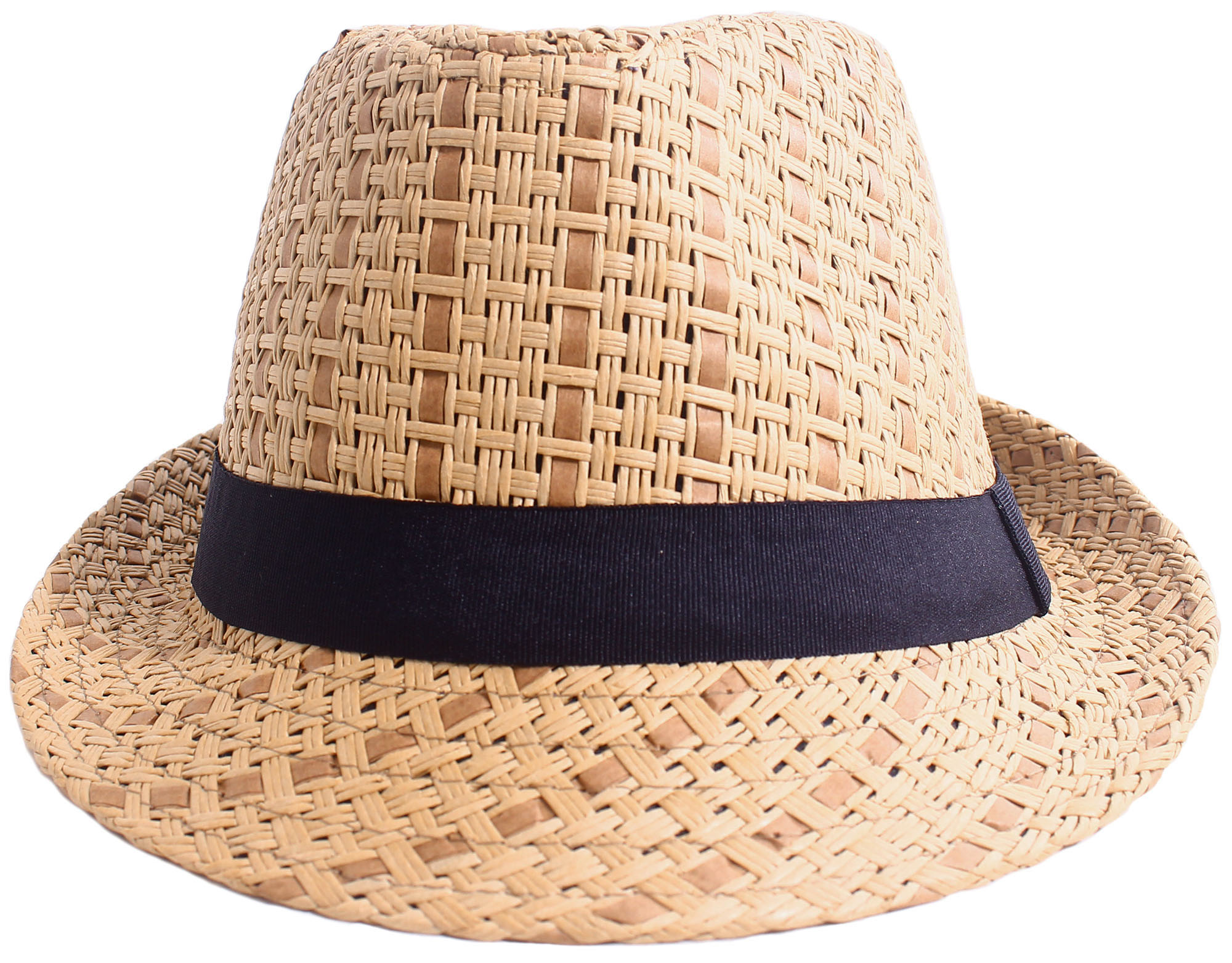 fa9a854168d Men   Women Summer Vintage Straw Fedora Hat 745 Brown Large X-Large -  Walmart.com