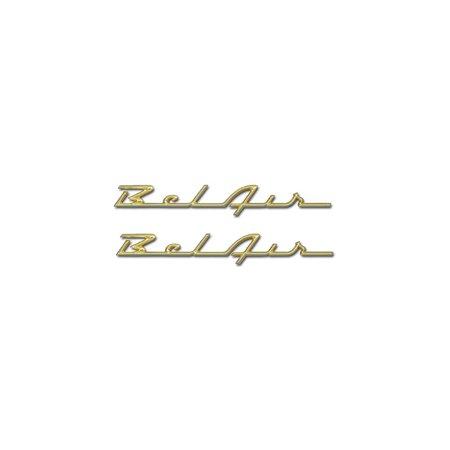 Eckler's Premier  Products 57-281134 Chevy Rear Quarter Panel Scripts, Bel Air, Show Correct, Bronze -