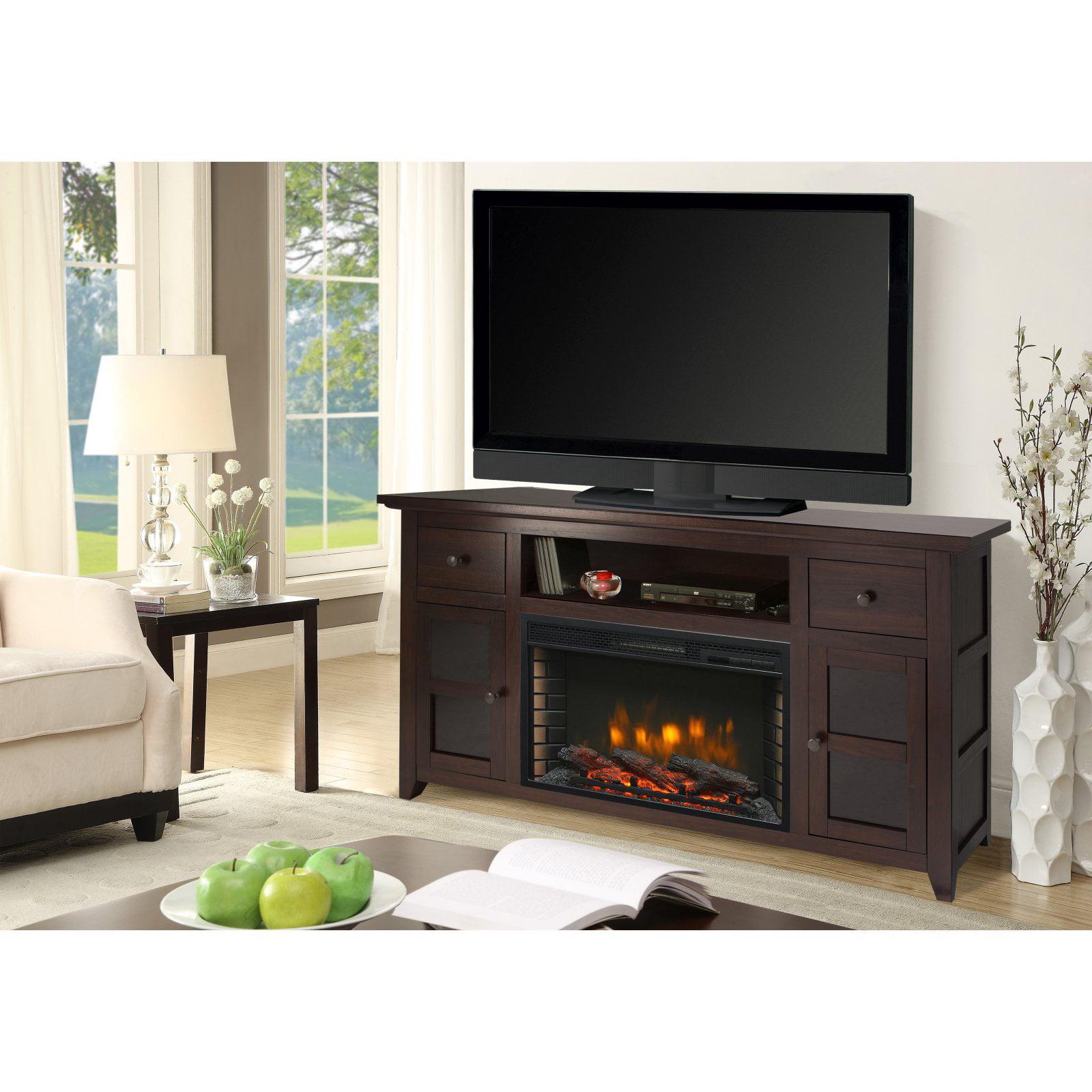 Winchester 56u0022 Media Electric Fireplace Dark Walnut Brown - Muskoka