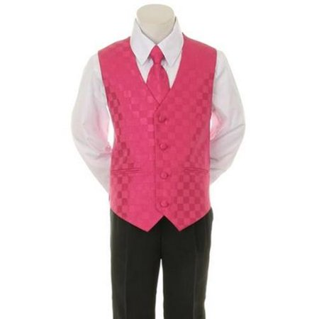 Kids Dream Fuchsia Checkered Vest Tie Special Occasion Boys Suit 5-20