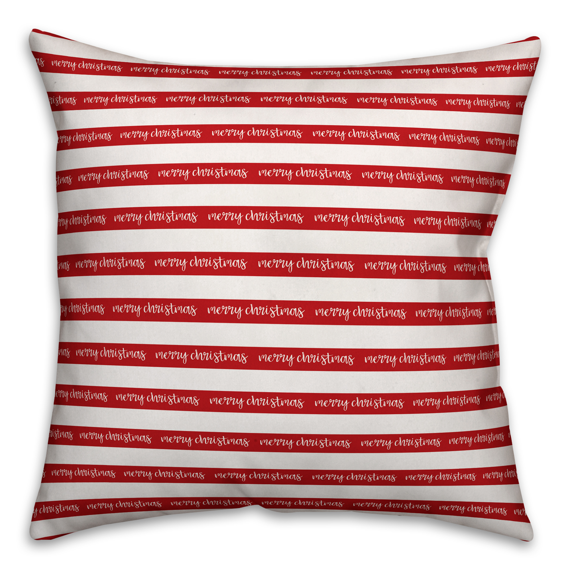 Merry Christmas Stripes 16x16 Spun Poly Pillow