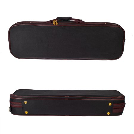 Professional 1/4 Full Size Violin Case Carrying Bag Oblong Shape Hard Case with Plush Lining Hygrometer and Portable Shoudler Straps Black - image 4 of 7