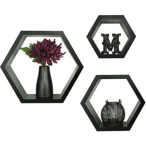 3-Piece Hexagallery Wall Decor, Black