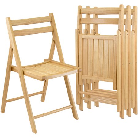Folding Chairs  Set Of 4  Natural