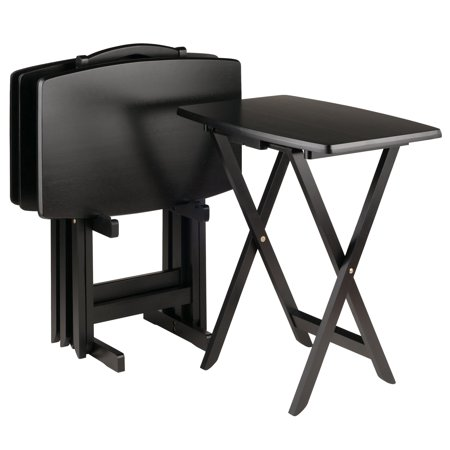 Winsome Dylan Wood 5 Piece Over Sized Folding TV Tray Table Set ...