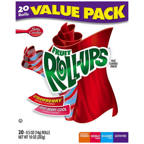 Betty Crocker Fruit Roll-Ups Strawberry & Berry Berry Cool Fruit Flavored Snacks, 0.5 oz, 20 count