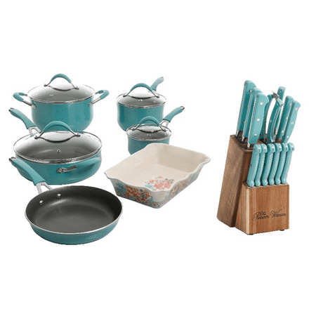 The Pioneer Woman 24-Piece Cookware and Knife Set Value Bundle, Multiple Colors