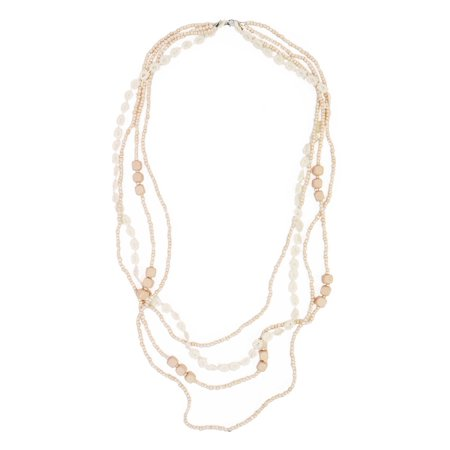 - Premium Long Multi-Row Layered Lace Floral Beaded Fashion Necklace, Blush