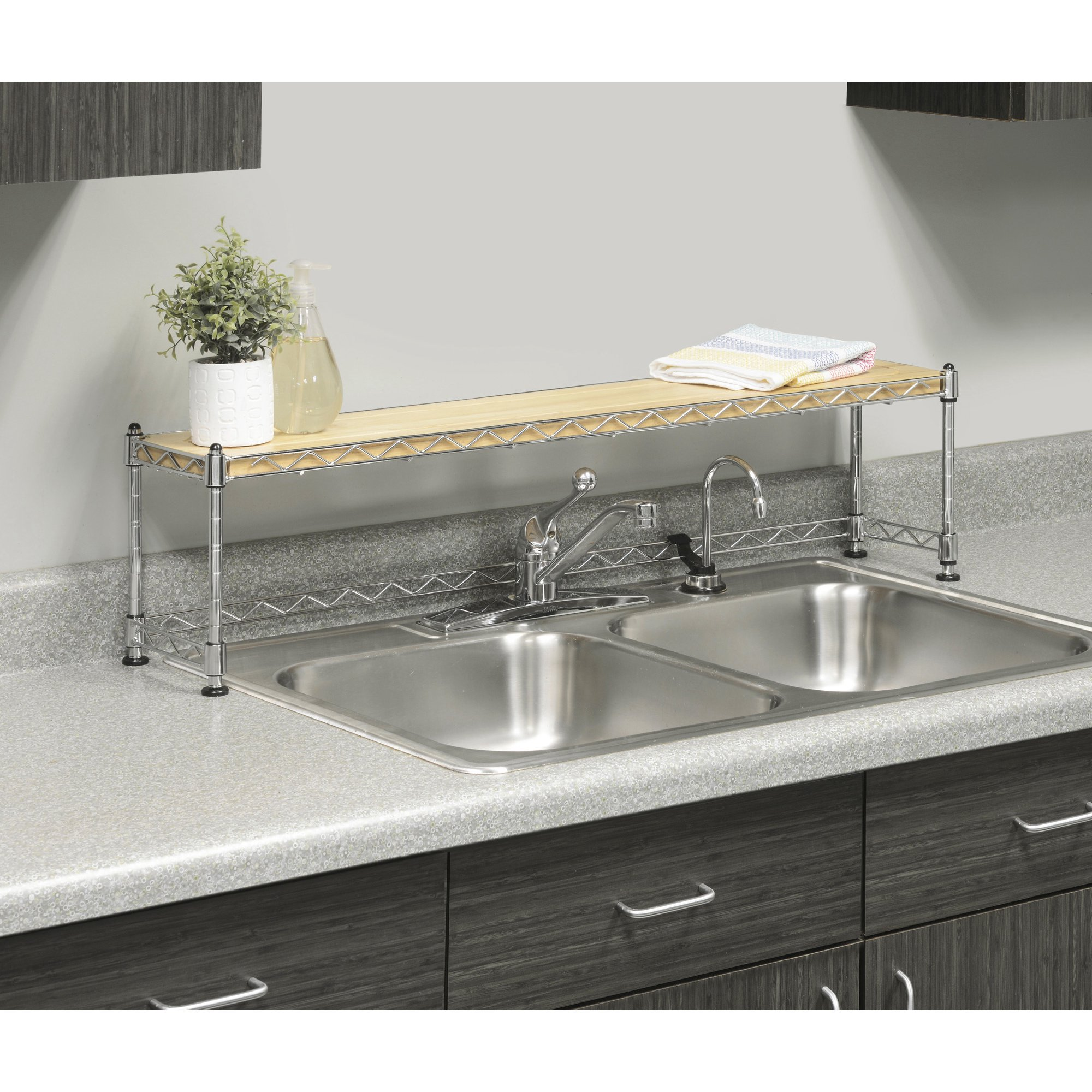 Whitmor Supreme Sink Shelf Wood & Chrome - Walmart.com