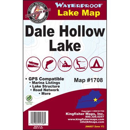 Kingfisher Maps Waterproof Lake Map Dale Hollow - Walmart.com on