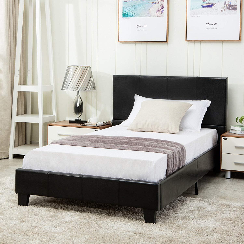 Mecor Faux Leather Bonded Platform Bed Frame Upholstered Panel Bed Full Size No Box Spring Needed For Adults Teens Children Black Full Walmart Com Walmart Com